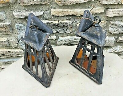 """Rare Pair Of Antique Cast Iron Mission Porch Sconce Lights """"As Is"""" Restoration"""