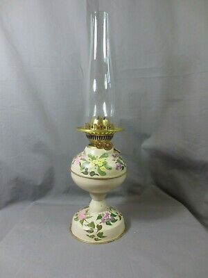 ANTIQUE VERITAS BRASS AND PAINTED  DUPLEX OIL LAMP AND CHIMNEY Shepards Hut