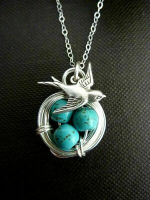 925 Silver Turquoise Pendant Necklace Bird Jewelry Men Chain Easter Eggs