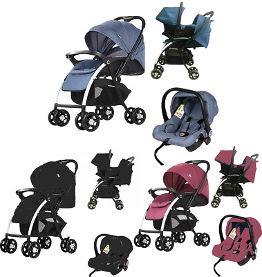 3 in 1 combi Newborn Baby Pram Car Seat Pushchair Travel System Buggy Stroller