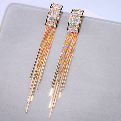 Gold Long Tassel Crystal Earrings Drop Dangle Stud Fashion Women Jewelry Gifts