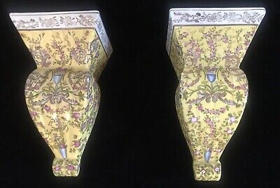 Lovely Vintage Pair Of Ceramic Chinese Wall Sconces Shelves By Wong Lee