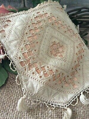 VERY RARE Antique French Victorian silk purse ~Exquisite Tape Lace/ Tassel Pouch