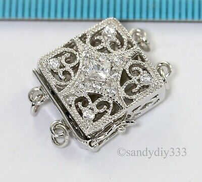 1x  Rhodium plated STERLING SILVER CZ CRYSTAL RECTANGLE 1-strand BOX CLASP #2677