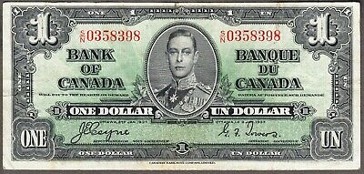 1937 Bank of Canada  - $1.00 Bank Note - Very Fine - Coyne Towers  S/N 0358398