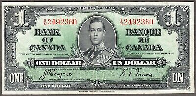 1937 Bank of Canada  - $1.00 Bank Note - Very Fine - Coyne Towers  S/N 2492360