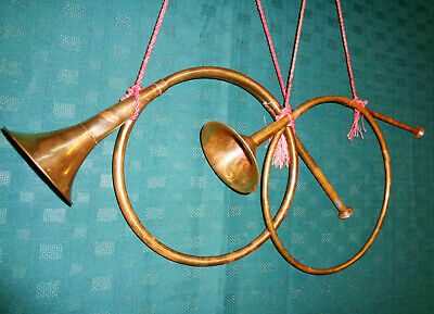 """2 Vintage Wall Art - Brass Hunting Horns - 12"""" Round - 4"""" Bell - Red Cords - NMM"""