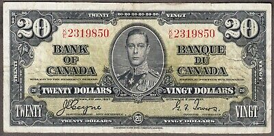 1937 Bank of Canada  - $20.00 Bank Note - Fine - Coyne Towers  K/E 2319850