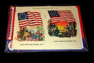 VTG Meyercord Patriotic  TRANSFER DECAL Flags NIP water slide