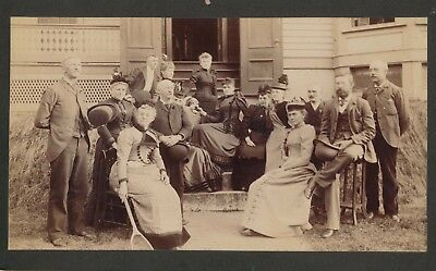 1880-1889 14 People on Steps, Woman with Tennis Racket Boudoir Cabinet Card