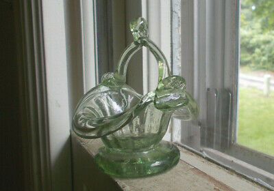 "Pontiled Mini 3"" Crude Hand Blown Art Glass Basket With Applied Drippy Handle"