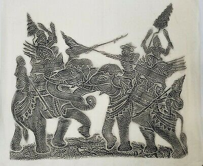 Vintage Angkor Wat Thai/Cambodian Temple Stone Rubbing Art on Rice Paper