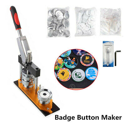 25/32/58mm Badge Maker Machine Making Pin Button Badges Press +Cutter+ 300 Parts