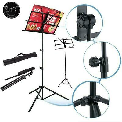 Glarry Adjustable Metal Sheet Music Stand Holder Folding Foldable w/Carry Bag UK