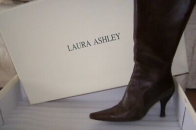 Laura Ashley Leather Boots sz 8 M 8M Brown Chocolate High Heels Original Box