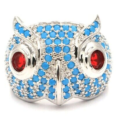 New Designed Owl Shape Blue Turquoise,Ruby SheCrown Woman's Gift Silver Ring 7.7