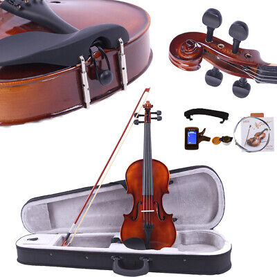 1/8 Spruce Wood Acoustic Violin with Case Bow Rosin Strings Shoulder Rests