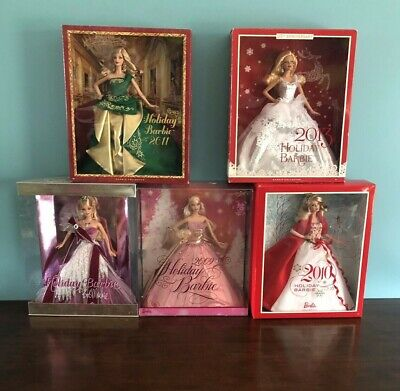 Lot Of 5 Holiday Barbie Dolls New NEFB 2005,2009,2010,2011,2013