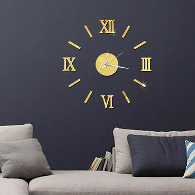 3D Wall Clock DIY Home Decoration Crystal Mirror Vinyl Art Sticker Design Gold
