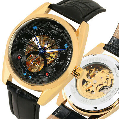 WINNER Mechanical Watch Automatic Wrist Watch Leather Band Hollow Skeleton Dial