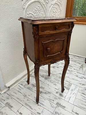 LOUIS XV FRENCH 19TH CENTURY BEDSIDE STAND / VINTAGE ANTIQUE CABINET With Marble