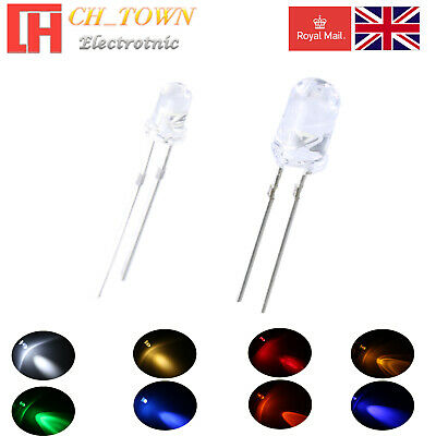 50 100pcs 3mm 5mm LED Diode Clear White Red Blue RGB Light Emitting Diodes Lamp