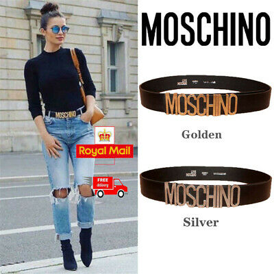 Ladies Women Fashion MOSCHINO Letters Belts Alloy Smooth Belts Buckle Waistband