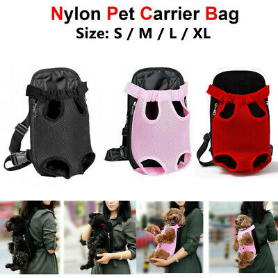 Small Pet Cat Puppy Dog Carrier Front Pack Hiking Backpack Head Legs Out Black