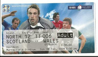 RUGBY UNION MATCH  TICKET -  SCOTLAND v WALES Six Nations 2009