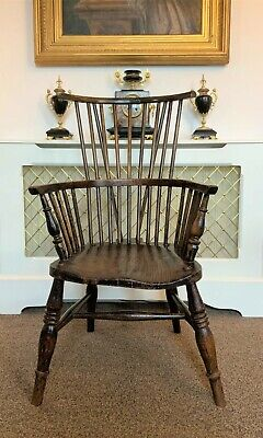 LOVELY WIDE FIT ANTIQUE 19thc OAK & ELM HIGH-BACK WINDSOR ARMCHAIR