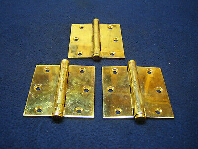 "(3) Antique Victorian 3-1/2"" Heavy Solid Brass Entry Door Hinges NOS - RUSSWIN"