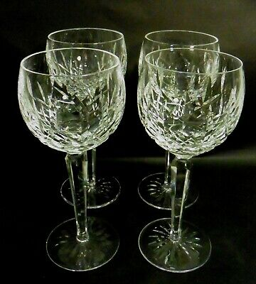 Four Waterford Crystal Lismore Cut Hock Wine Glasses  7 1/2""