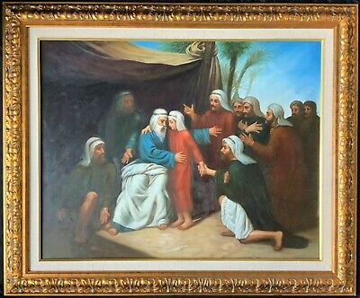 HUGE' STUNNING ORIGINAL 20thc BIBLICAL RELIGIOUS OIL ON CANVAS PORTRAIT PAINTING