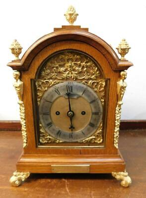 honey oak cased double fusee bracket clock, goldsmiths london
