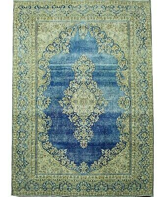 Traditional Hand Knotted Vintage Area Rug Blue/Gold Oriental Rugs (190 x 280)