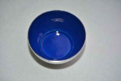 Antique Vintage Sterling Silver Blue Enamel Salt Cellar