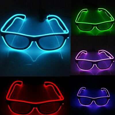 Battery Operate EL Glasses LED Light Up Glow Flashing Shade Sunglasses Bar Party