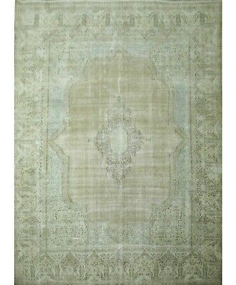Traditional Hand Knotted Vintage Area Rug Came/Grey Oriental Rug Size(300 x 390)
