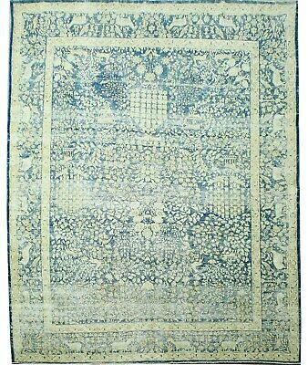 Traditional Hand Knotted Vintage Area Rug Blue/Ivory Modern Rugs Size(270 x 385)
