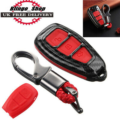 Carbon Fiber Remote Key 3 Button Fob Case Cover For Ford Focus Kuga C-Max Set