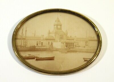 Framed Victorian Antique Sepia Photograph of The New Pier Rothsay C1890-1900.