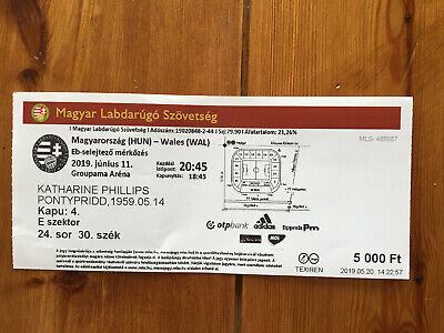 Used match ticket - Hungary v Wales 2019 - EURO 2020 qualifier