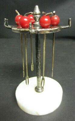 1930s ART DECO STYLE SILVER PLATED COCKTAIL STAND AND STICKS