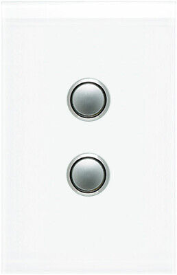 Clipsal Saturn 2 Gang Switch with LED Pure White   4062PBL-PW