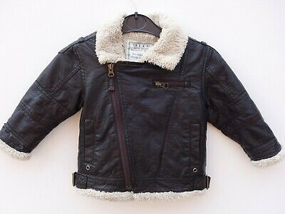 Gorgeous NEXT Baby Boy's Brown Faux Leather Biker Style Flying Jacket 12-18 mths