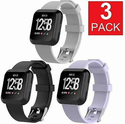 3 PACK  For Fitbit Versa Replacement Bands Smart Watch Sport Band 3 PACK