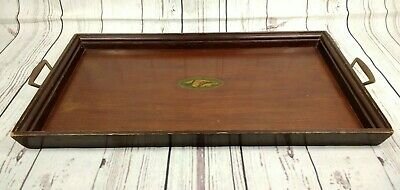 Vintage Oak Serving Butler Tray Metal Handles Shell Inlay Large 50cm