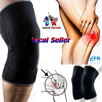 Knee Sleeve Compression Brace Support For Sport Joint Arthritis Pain Relief PADS