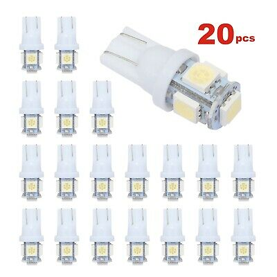 T10 Car Bulbs LED Error Free Canbus 501 W5W 5 SMD Side Plate Interior Lamp 20Pcs