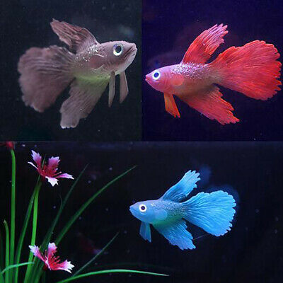BettaAquarium Fish Tank OrnamentDecor Artificial Soft Silicone Glowing Effect UK